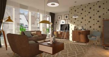 Retro Wohnzimmer mit Tapete und Teppich